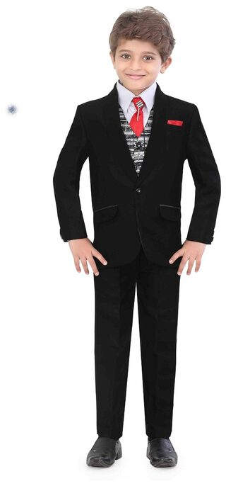 Jeetethnics Boy Silk Solid Kurta Pyjama Set - Black
