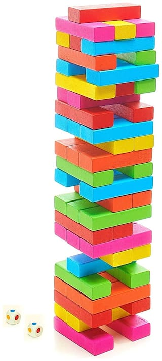 Jenga Blocks Toppling Tower - Colored Stacking and Tumbling Timbers Tower Game Jenga 54 pcs Board Games Zenga Building Blocks Wood Construction