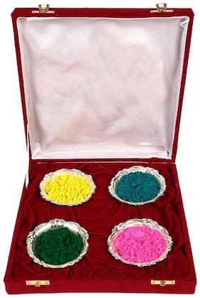 JEWEL FUEL Holi Special 4 Silver Bowl With Velvet Box Gift Hamper