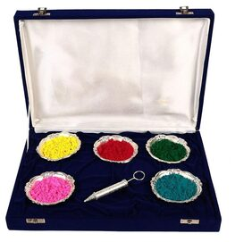 JEWEL FUEL Holi Special Silver Pichkari (13cm) And 5 Bowl Set Gift Hamper