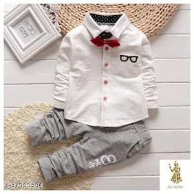 JIADI WORLD WHITE KOREAN VERSION OF THE CHILDREN S SUIT SMALL CHILDREN S LONG-SLEEVED TROUSERS SET BOY