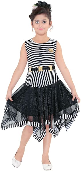 JioFashion Cotton blend Striped Frock - Black