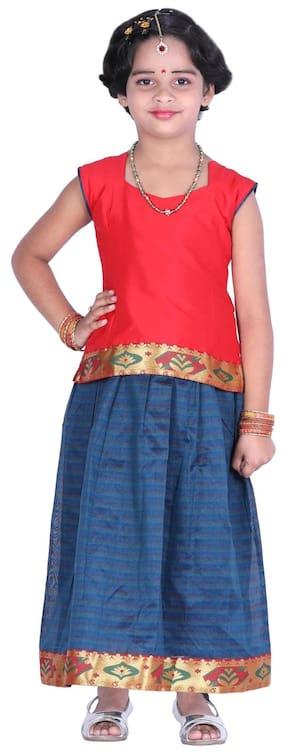 JISB Girl's Silk blend Solid Short sleeves Lehenga choli - Blue