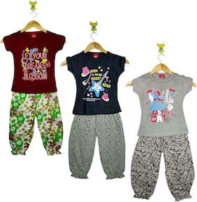 Jisha Girl Cotton Top & Bottom Set - Multi