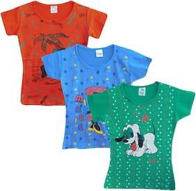 Jisha Girl Cotton blend Solid T shirt - Multi