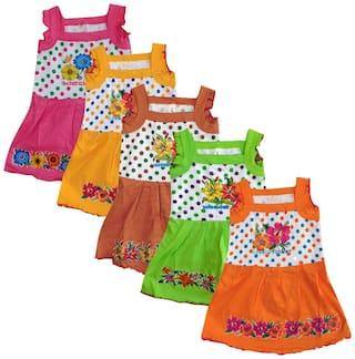 Jisha Baby girl Cotton blend Solid Princess frock - Multi