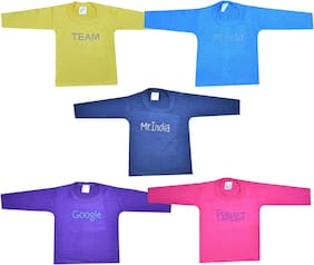 Jisha Cotton Solid T shirt for Unisex Infants - Multi