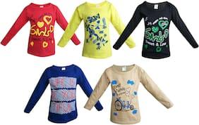 Jisha Cotton Solid T shirt for Unisex Infants - Multi