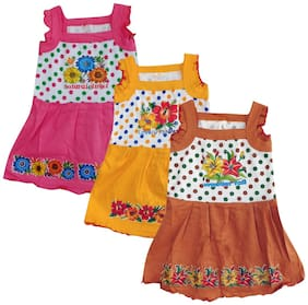 Jisha Multi Cotton Sleeveless Above Knee Princess Frock ( Pack of 3 )