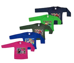 Jisha Boy Cotton Solid T-shirt - Blue