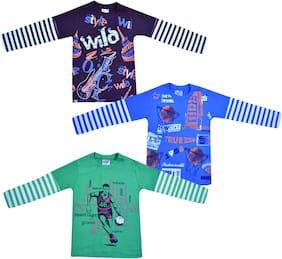 Jisha Boy Cotton Solid T-shirt - Multi