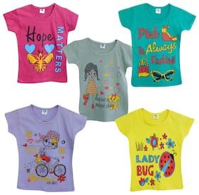 Jisha Girl Cotton Printed Top - Multi
