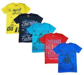 Jisha Boy Cotton Printed T-shirt - Multi