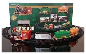 JK INT Battery Operated Choo-Choo Smoke Plastic Toy Train with Track Set Round with Sound