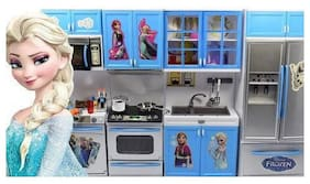 jk int Battery Operated Modern Frozen Kitchen and Accessories Pretend Play Learning Educational Toy Set for Kids,Girls to Play at Home with Lights & Sound