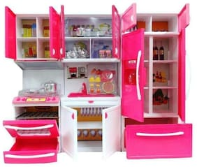jk int Modern Kitchen Play Set With Refrigerator Cook Top And Drawer Almirah