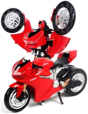 jk int  MZ Transformer (Bumblebee Optimus) Remote Control Robot to Motocycle Ducati with USB Charger, Lights & Sounds