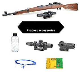 JK INT PubG Theme Gun Toys Set with Assault Rifle Kar98k Model, 4X Design Scope, Toy Knife, Water and Soft Foam Bullets and Combat Cards Target Shooting