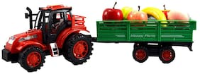 jk int Tractor Trolley Toy for Kids, Tractor with Trolley Toy, Push and go Toy, Tractor with Real Looking Fruits Red