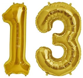 JMO27Deals 13 Numbers Golden Foil Birthday-Anniversary Party Decorations Balloon (Golden;Pack of 2)