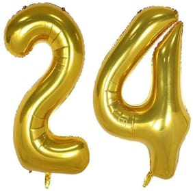JMO27Deals 24 Numbers Golden Foil Birthday-Anniversary Party Decorations Balloon (Golden;Pack of 2)