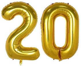JMO27Deals 20 Numbers Golden Foil Birthday-Anniversary Party Decorations Balloon (Golden;Pack of 2)