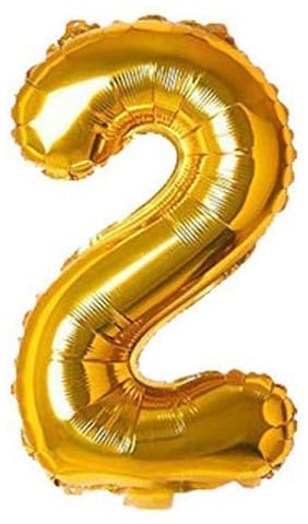 JMO27Deals 2 Numbers Golden Foil Birthday-Anniversary Party Decorations Balloon (Golden;Pack of 1)