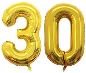 JMO27Deals 30 Numbers Golden Foil Birthday-Anniversary Party Decorations Balloon (Golden;Pack of 2)