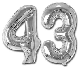 JMO27Deals 43 Numbers Silver Foil Birthday-Anniversary Party Decorations Balloon (Silver;Pack of 2)
