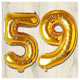 JMO27Deals 59 Numbers Golden Foil Birthday-Anniversary Party Decorations Balloon (Golden;Pack of 2)
