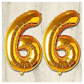 JMO27Deals 66 Numbers Golden Foil Birthday-Anniversary Party Decorations Balloon (Golden;Pack of 2)