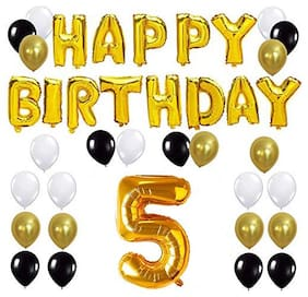 JMO27Deals Solid 5th Happy Birthday Balloon;Letter Foil Balloon Set of 44 Decoration Balloons Kit (Golden;Black;White Each 10;Pack of 44)