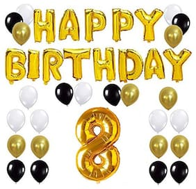 JMO27Deals Solid 8th Happy Birthday Balloon;Letter Foil Balloon Set of 44 Decoration Balloons Kit (Golden;Black;White Each 10;Pack of 44)