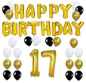 JMO27Deals Solid 17th Happy Birthday Balloon;Letter Foil Balloon Set of 45 Decoration Balloons Kit (Golden;Black;White Each 10;Set of 45)