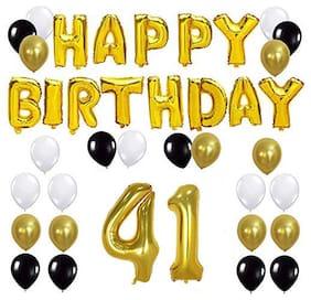 JMO27Deals Solid 41st Happy Birthday Balloon;Letter Foil Balloon Set of 45 Decoration Balloons Kit (Golden;Black;White Each 10;Set of 45)