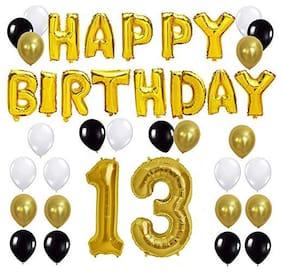 JMO27Deals Solid 13th Happy Birthday Balloon;Letter Foil Balloon Set of 45 Decoration Balloons Kit (Golden;Black;White Each 10;Set of 45)