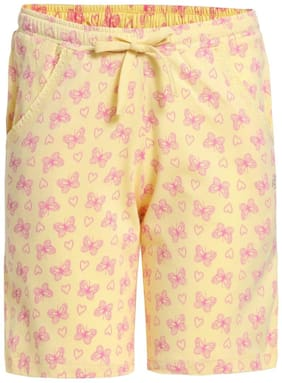 Jockey Girl Cotton Printed Regular shorts - Yellow