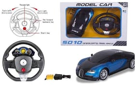 JOHNNIE BOY  Steering Wheel Controlled 1:16 Scale Rechargeable RC Bugatti Veyron  (BLUE)
