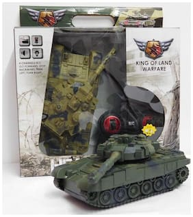 Johnnie Boy T-90 ARMY REMOTE CONTROL TANK TOY WITH 4 FUNCTION FOR KIDS  (Multicolor)