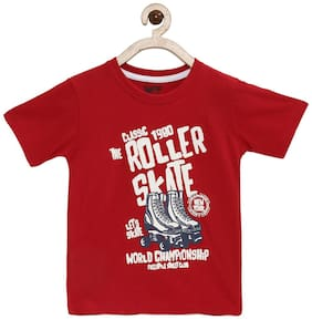Joven Boy Cotton Printed T-shirt - Red