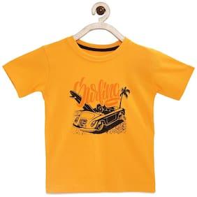Joven Boy Cotton Printed T-shirt - Yellow