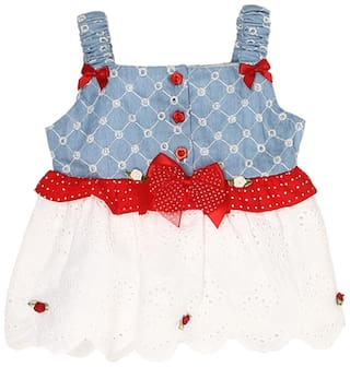 K.C.O 89 Baby girl Cotton Solid Princess frock - Blue