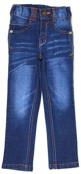 K.CO.89 Boys Blue Solid Casual Jeans