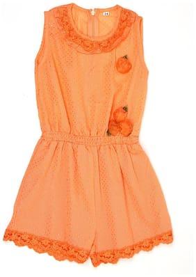 K.C.O 89 Polyester Solid Romper For Girl - Orange