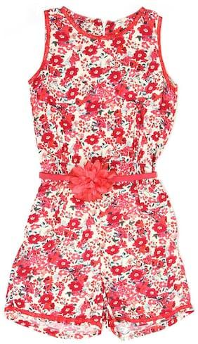 K.C.O 89 Cotton blend Floral Romper For Girl - Pink