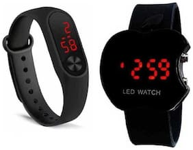 K&UPack of 2 Sports Collection Black & Red Dial Digital Watch -