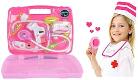 Kaarq  Battery Operated Doctor Set 8 pcs Kit With Lights & Sound For Kid My Family Docs  (Pink)