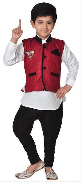 Kabeer Modi Jacket With Kurta Pajama For 6 Yrs Age (Maroon Colour) (Size-6-7 years)
