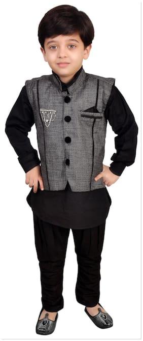 Kabeer Black Modi Jacket With Kurta Pajama (Size-4-5 years)