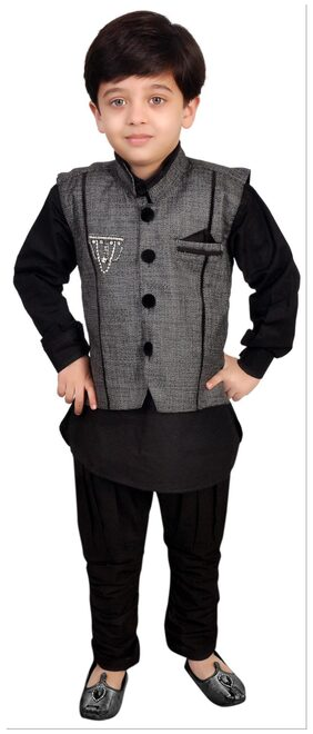 Kabeer Black Modi Jacket With Kurta Pajama (Size-6-7 years)